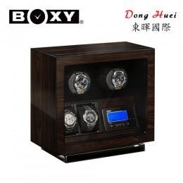 東暉國際代理 BOXY手錶自動上鍊盒收藏盒 BLDC-A02 LED燈 電子式多種轉速設定 搖錶器(黑檀木紋)