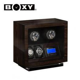 【BOXY手錶自動上鍊盒】BLDC-A02 LED燈 無刷馬達 搖錶器 電子式多種轉速設定(2+2支裝胡桃木紋色)