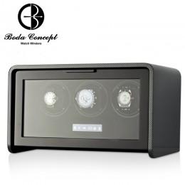 東暉國際代理 Boda Concept A3 德國柏達 碳纖維紋手錶自動上鍊盒 防磁設計 搭LED鑑賞燈 多種轉速設定 旋轉盒 搖錶器