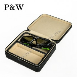 P&W 手工頭層牛皮 眼鏡收藏盒 (2支裝眼鏡盒 黑+米色)