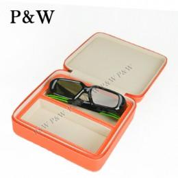 P&W 手工頭層牛皮 眼鏡收藏盒 (2支裝眼鏡盒 橘+米色)