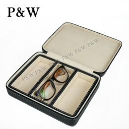 P&W 手工頭層牛皮 眼鏡收藏盒 (3支裝眼鏡盒 黑+米色)