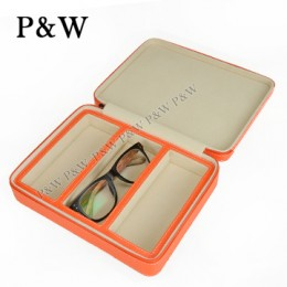 P&W 手工頭層牛皮 眼鏡收藏盒 (3支裝眼鏡盒 橘+米色)