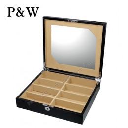 P&W 手工木質鋼烤 內藏化妝鏡 眼鏡收藏盒 (8支裝眼鏡盒 黑+駝色)