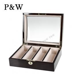 P&W 手工木質鋼烤 玻璃鏡面 眼鏡收藏盒 (4支裝眼鏡盒 龜裂紋+米色)