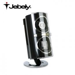 【Jebely手錶自動上鍊盒】JBW091  瑞士精品 複合材質 直立式 搖錶器 4種轉速設定 (2支裝黑色)