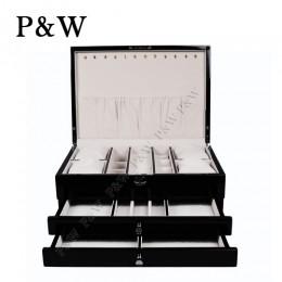 P&W 手工木質鋼烤 珠寶收藏盒 抽屜式首飾盒 (珠寶盒 黑+杏色)