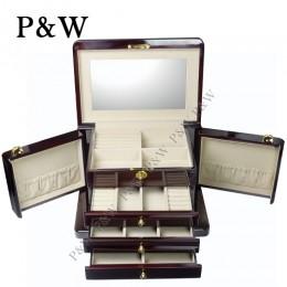 P&W 手工木質鋼烤 珠寶 收藏盒 化妝鏡抽屜式 首飾盒 (珠寶盒 黑壇木紋+米色)