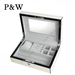 P&W 手工木質霧面 珠寶收藏盒 首飾盒 (珠寶盒 白+灰色)