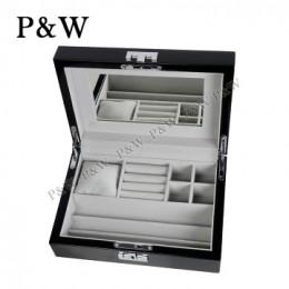 P&W 手工木質鋼烤 珠寶收藏盒 首飾盒 (珠寶盒 黑+灰色)