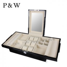 P&W 手工木質鋼烤 珠寶收藏盒 化妝鏡首飾盒+錶盒 (珠寶盒 黑+米色)