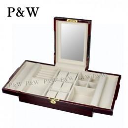 P&W 手工木質鋼烤 珠寶收藏盒 化妝鏡首飾盒+錶盒 (珠寶盒 黑壇木紋+米色)