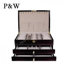 P&W 手工木質鋼烤 珠寶收藏盒 抽屜式首飾盒 (珠寶盒 黑壇木紋+米色)