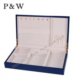 P&W 手工木質鋼烤 珠寶收藏盒 首飾盒 (珠寶盒 藍+米色)