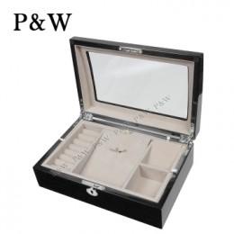 P&W 手工木質鋼烤 珠寶收藏盒 首飾盒 (珠寶盒 黑+米色)
