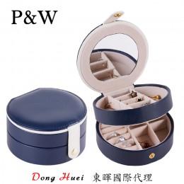 P&W 手工皮質 珠寶收藏盒 化妝鏡 隨身首飾盒 (珠寶盒 藍白+米色)
