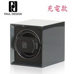 東暉國際代理 PAUL DESIGN P1 英國保羅設計手錶自動上鍊盒(小體積設計免插電) 旋轉盒 搖錶器 收藏盒錶盒(碳纖維紋)
