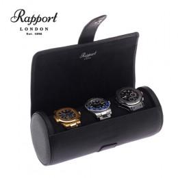 英國進口 Rapport 瑞伯特 Berkeley -D180 真皮圓筒 手錶收藏盒 (3支裝 全黑色)