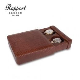 英國進口 Rapport 瑞伯特 Slipcase -L106 真皮鱷魚花紋 手錶收藏盒 (2支裝)