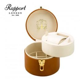 英國進口 Rapport 瑞伯特 J145 真皮圓筒手錶收藏盒+珠寶盒 (1支裝 棕+米色)