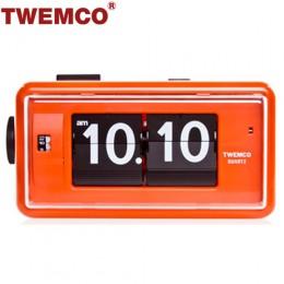 TWEMCO AL-30 翻頁鐘 機械式德國機芯 方形鬧鐘夜燈 (橘色)