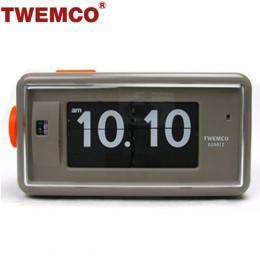 TWEMCO AL-30 翻頁鐘 機械式德國機芯 方形鬧鐘夜燈 (灰色)