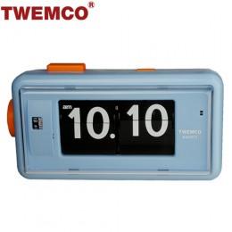 TWEMCO AL-30 翻頁鐘 機械式德國機芯 方形鬧鐘夜燈 (藍色)