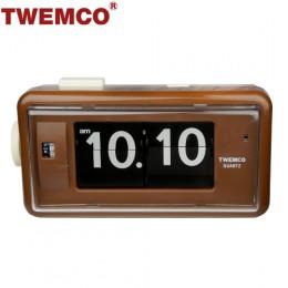 TWEMCO AL-30 翻頁鐘 機械式德國機芯 方形鬧鐘夜燈 (咖啡色)