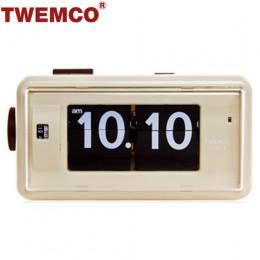 TWEMCO AL-30 翻頁鐘 機械式德國機芯 方形鬧鐘夜燈 (米色)