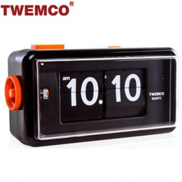 TWEMCO AL-30 翻頁鐘 機械式德國機芯 方形鬧鐘夜燈 (黑色)