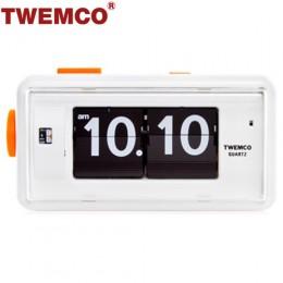 TWEMCO AL-30 翻頁鐘 機械式德國機芯 方形鬧鐘夜燈 (白色)