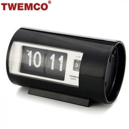 TWEMCO AP-28 翻頁鐘 機械式德國機芯 圓筒小鬧鐘 (黑色)