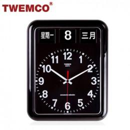 TWEMCO BQ-12A 翻頁鐘 機械式德國機芯 萬年曆 指針掛鐘 (黑色中文版)