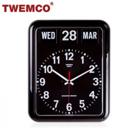 TWEMCO BQ-12A 翻頁鐘 機械式德國機芯 萬年曆 指針掛鐘 (黑色英文版)