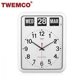 TWEMCO BQ-12A 翻頁鐘 機械式德國機芯 萬年曆 指針掛鐘 (白色英文版)