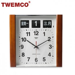 TWEMCO BQ-15 翻頁鐘 機械式德國機芯 萬年曆 指針掛鐘 (深色-木質中文版)