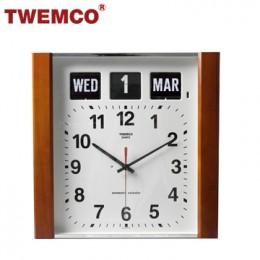 TWEMCO BQ-15 翻頁鐘 機械式德國機芯 萬年曆 指針掛鐘 (深色-木質英文版)