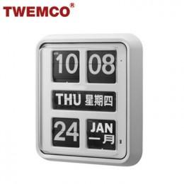TWEMCO BQ-170 翻頁鐘 機械式德國機芯 萬年曆 掛鐘 (白色中英文版)