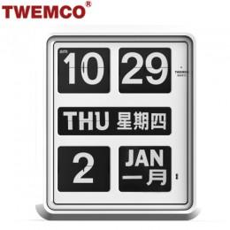 TWEMCO BQ-1700 翻頁鐘 機械式德國機芯 萬年曆 掛鐘 (白色中英文版)