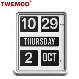 TWEMCO BQ-1700 翻頁鐘 機械式德國機芯 萬年曆 掛鐘 (白色英文版)