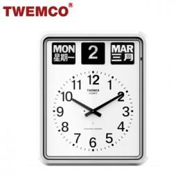 TWEMCO BQ-20 翻頁鐘 機械式德國機芯 萬年曆 大型指針掛鐘 (白色中英文版)