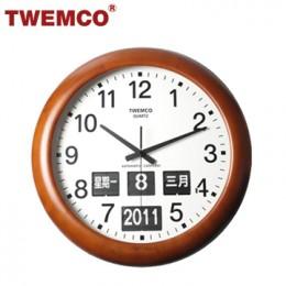 TWEMCO BQ-368 翻頁鐘 機械式德國機芯 萬年曆 指針掛鐘 (深色-木質中文版)