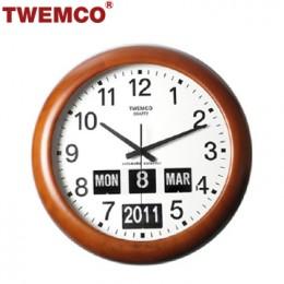 TWEMCO BQ-368 翻頁鐘 機械式德國機芯 萬年曆 指針掛鐘 (深色-木質英文版)