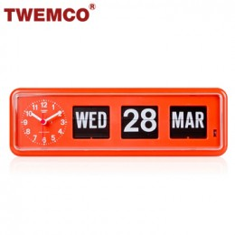 TWEMCO BQ-38 翻頁鐘 機械式德國機芯 萬年曆 可壁掛及桌放 (橘色英文版)