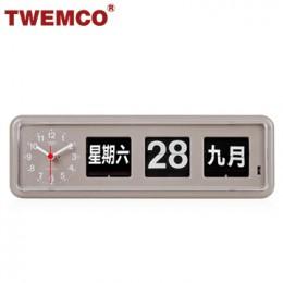 TWEMCO BQ-38 翻頁鐘 機械式德國機芯 萬年曆 可壁掛及桌放 (灰色中文版)