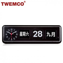TWEMCO BQ-38 翻頁鐘 機械式德國機芯 萬年曆 可壁掛及桌放 (黑色中文版)