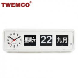 TWEMCO BQ-38 翻頁鐘 機械式德國機芯 萬年曆 可壁掛及桌放 (白色中文版)