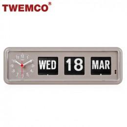 TWEMCO BQ-38 翻頁鐘 機械式德國機芯 萬年曆 可壁掛及桌放 (灰色英文版)