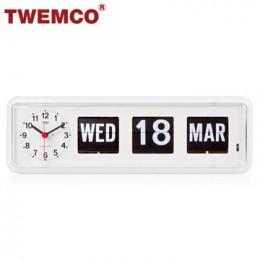 TWEMCO BQ-38 翻頁鐘 機械式德國機芯 萬年曆 可壁掛及桌放 (白色英文版)