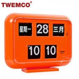 TWEMCO QD-35 翻頁鐘 機械式德國機芯 萬年曆 可壁掛及桌放 (橘色中文版)